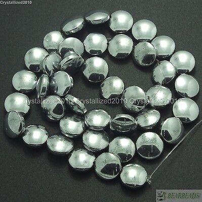 Natural Hematite Gemstone Round Disc Button Loose Beads Silver 16'' Strand 12mm