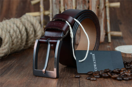Men Classic Genuine Coffee Leather Pin Buckle Top Elegant Waist Belt Waistband