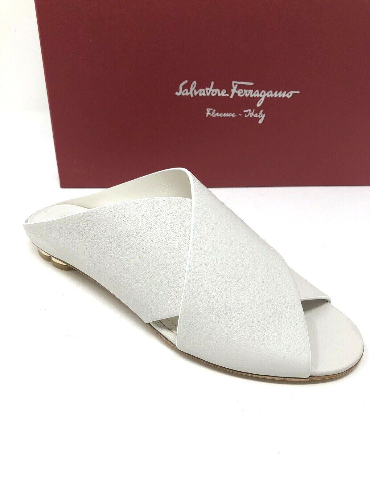 New Salvatore Ferragamo Womens White shoes Slides Ladies Ladies Ladies Sandals Size 6.5 37 b1b8d2