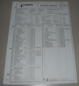 Pierburg-Vergaser-31-PIC-7-Kennblatt-Ersatzteilliste-VW-Golf-I-Typ-17-Jetta-I