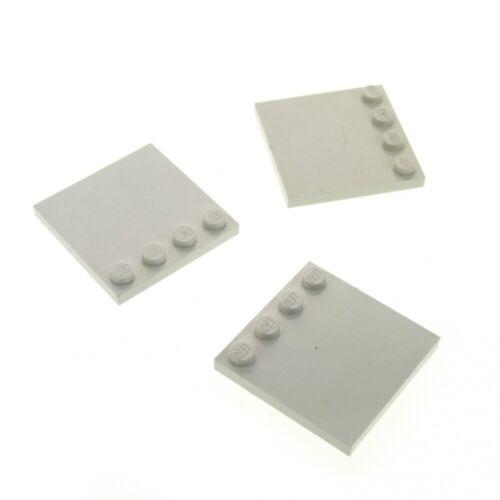 3 x Lego System  Bau Platte weiss 4x4 Fliese mit Noppen am Rand für Set SW 7259