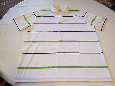 Nike Golf Dri Fit Mens short sleeve polo shirt L white striped GUC SPOT @