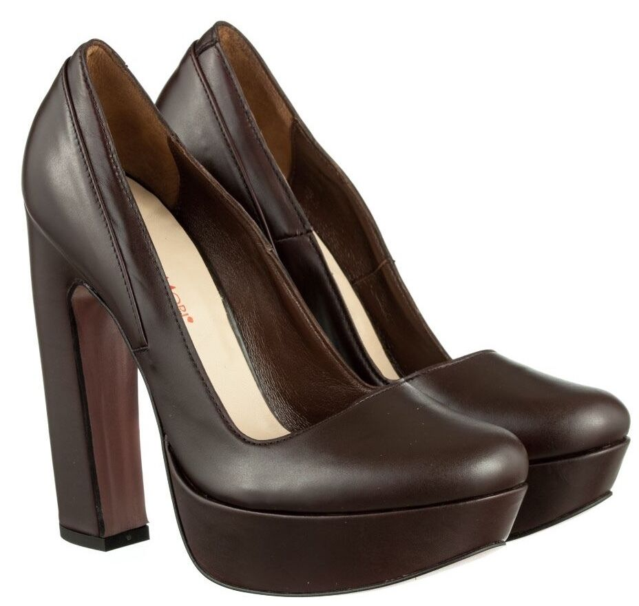 Descuento barato MORI ITALY PLATFORM HIGH HEELS PUMPS SCHUHE SHOES REAL LEATHER BROWN MARRONE 40