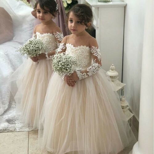 A-Line Round Neck Long Sleeves Tulle Flower Girl Dress with Lace