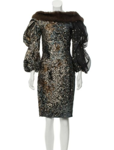 Carolina Herrera Sable Fur-Trimmed Sequin Embellis