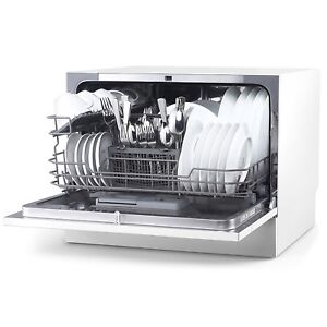 Details about Compact Office Kitchen Dishwasher - Home Countertop Apartment  Dorm 6 Rack Basket