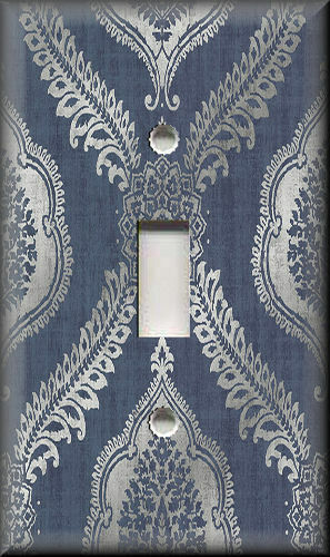 Blue Damask Decorative Light Switch Plate Cover Wall Plate