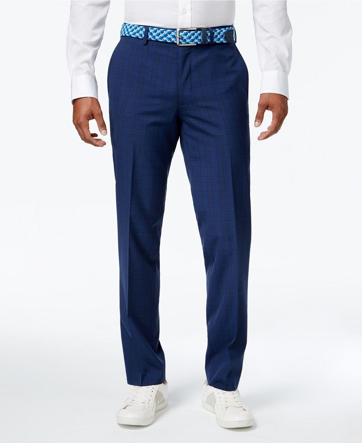 BAR III men blueE WOOL FLAT FRONT SLIM FIT DRESS PANTS TROUSERS 36 W 30 L