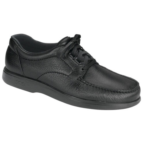 Homme SAS Bout Time en cuir noir Orthopédique Chaussure Largeurs Disponibles *