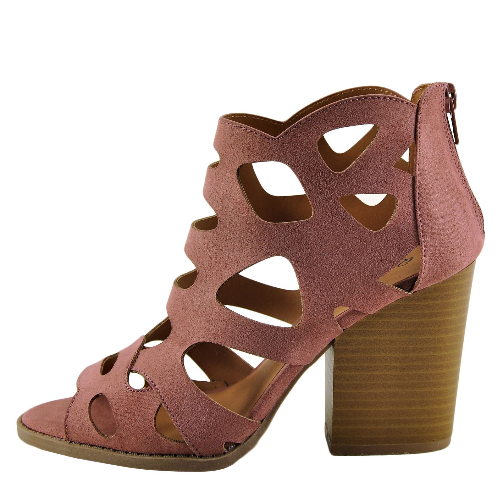 Qupid Barnes 169A Women's Mauve Women's 169A Open Toe Caged Stacked Heel 319d7a
