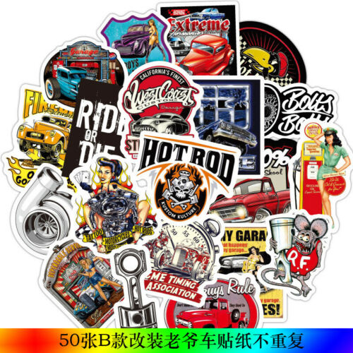 Classic Cars Vintage Motorcycle Graffiti Sticker Skateboard Luggage Decal