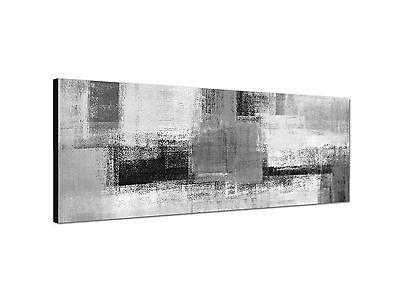 abstraktes Gemälde Grautöne grafisch 150x50cm Panoramabild Schwarz Weiss