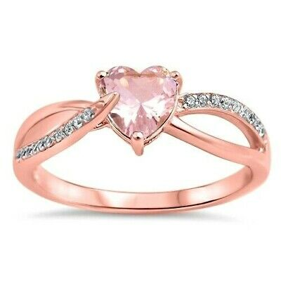 USA Seller Heart Ring Genuine Sterling Silver 925 7 mm Rose Pink Clear CZ Size 6