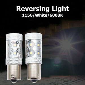 2X-bombillas-de-luz-LED-P21W-1156-BA15S-freno-deja-cola-trasera-de-reversa-para-Automovil-12v-Blanco