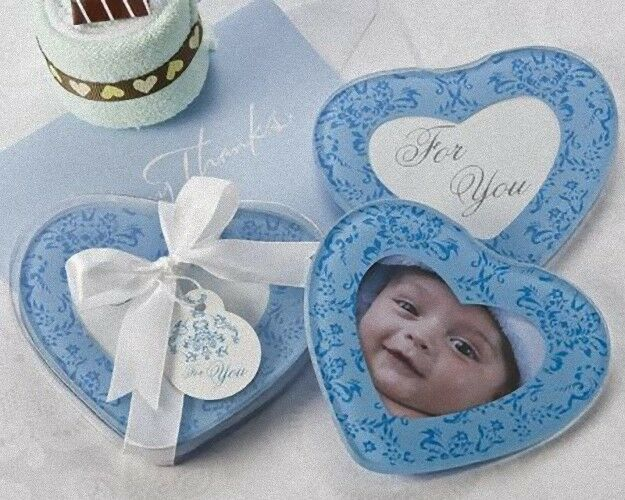 50 x Christening Bomboniere Gift HEART DESIGN GLASS PHOTO COASTER 2per SET (100)