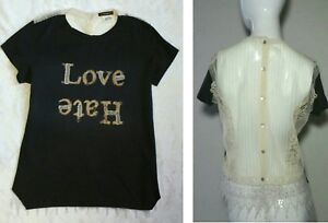 We Shirt Femme Tee Hate Are Italy Sheer T Lace Back Replay Love rqr76nPz