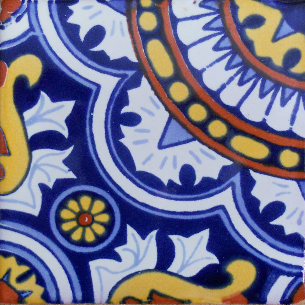 90 MEXICAN CERAMIC TILES WALL OR FLOOR USE CLAY TALAVERA MEXICO POTTERY  C115