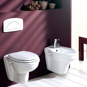 Details about Sanitari sospesi arredo bagno wc con sedile e bidet in  ceramica offerta limitata