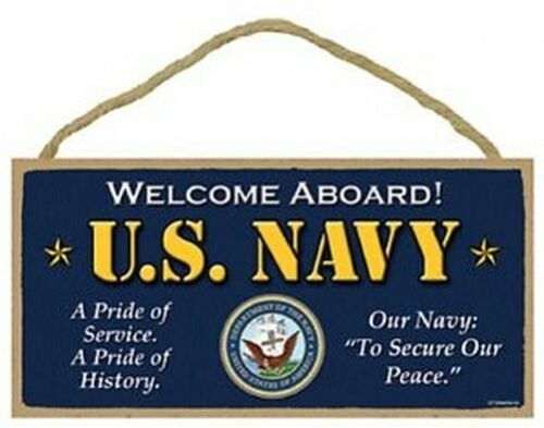 """Welcome Aboard U.S NAVY MILITARY Sign Gift Home 5/""""x10/"""" USA Wood Plaque 664"""