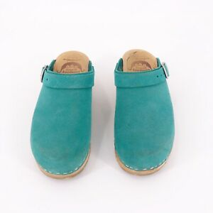 Made-In-Sweden-Clogs-The-Swedish-Company-Womens-Size-35-Suede-Green