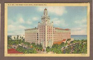 Image Is Loading Vintage Postcard Unused Linen Roney Plaza Hotel Miami
