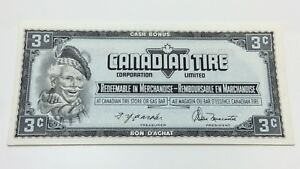 1974-Canadian-Tire-3-Three-Cents-CTC-S4-A-AN-Uncirculated-Money-Banknote-D130