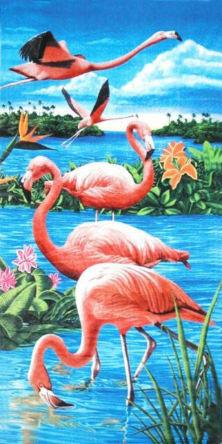 """30/"""" X 60/"""" Watercolor Painted Flamingo Velour Beach Towel 100/%Cotton"""