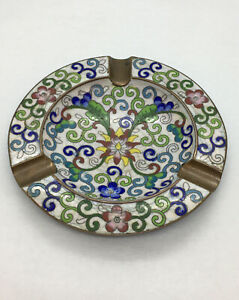 Vintage-Chinese-Enamel-on-Brass-Floral-Ashtray-with-Three-Holders-AS-IS-Chips