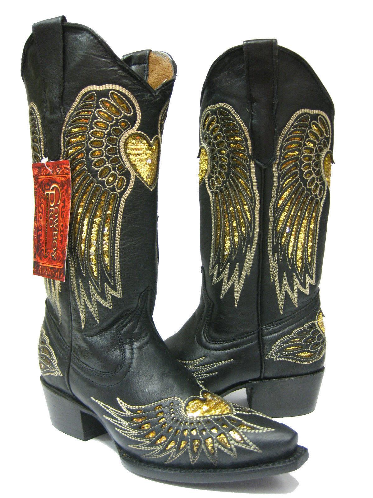 Para Mujeres Cuero Negro botas corazón incrustaciones de lentejuelas oro botas Negro De Vaquero SNIP Toe e9abb7