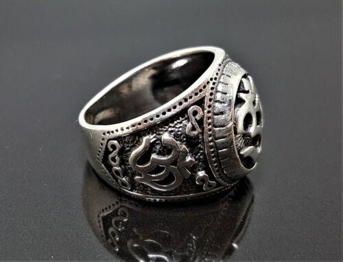 925 Sterling Silver Ohm Ring Ohm AUM Om Buddhism Mantra Talisman Protective Amul