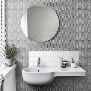 Charcoal-gray-silver-metallic-faux-carbon-textured-Wallpaper-Geometric-lines-3D