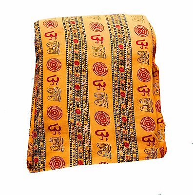 Blue Indian 100/% Cotton Om Print Fabric Cloth Dress Material Price Per Yard