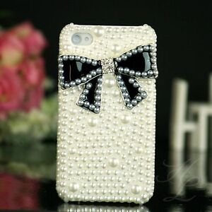 Apple-iPhone-4-4S-Hard-Case-Handy-Schutz-Huelle-Tasche-Etui-Perle-Schwarz-3D-Weiss