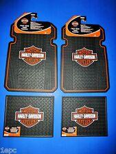 Harley Davidson Logo Front Rear Rubber Floor Mats 4 Pcs Set Car Truck SUV NEW
