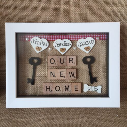 Personalised Box Frame Family Our New Home First Home Scrabble Forever Home Gift
