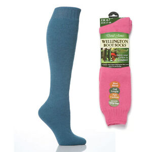 LADIES KNEE HIGH QUALITY  MERINO WOOL COTTON GORGEOUS LONG SKI WELLY BOOT SOCKS