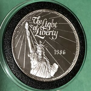 1986 Light Of Liberty Free The Eagle 1 Troy Oz 999 Fine Silver Proof Round Coin Ebay