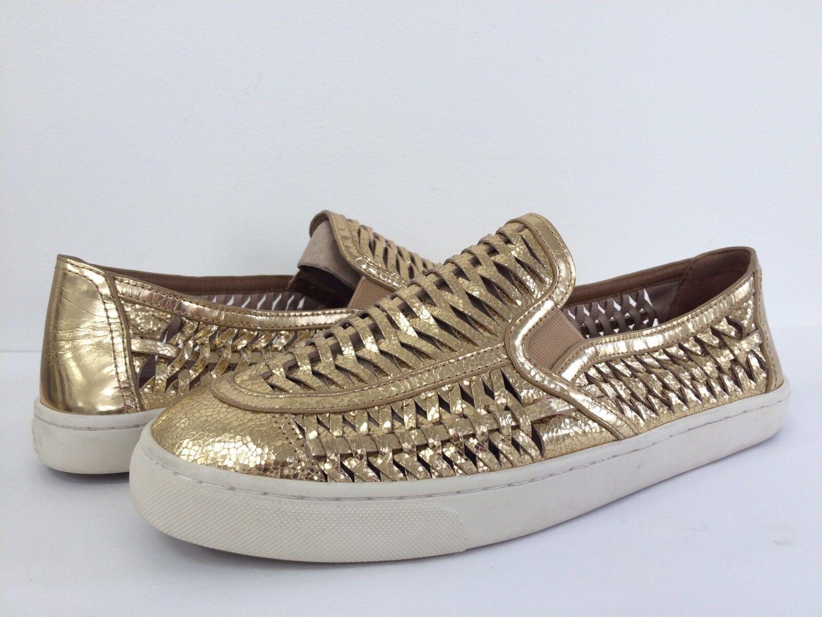 Nuevo Tory Burch Para mujeres Cuero Cuero Cuero Metálico oro Huarache Sin Cordones Tenis Zapatos 11  el mas de moda