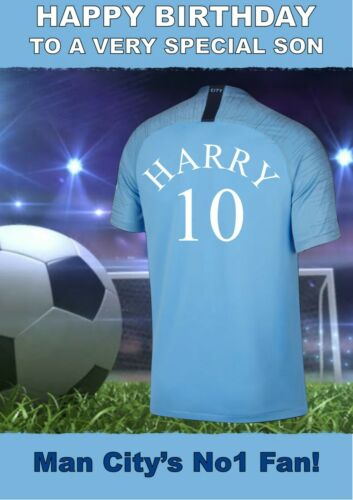 personalised Football birthday card  Manchester City Inspired any name age etc