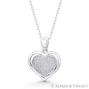 Sterling Silver Love Heart Charm White Crystals CZ Pendant Necklace with Chain
