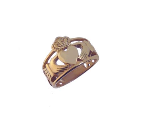Lourd Large 18K plaqué or rose Claddagh Anneau infini nœud bijoux Pick Taille