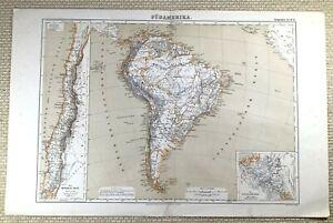 1874 Antik Map Of Südamerika Chile Panama Railroad Alte Deutsch 19th Jahrhundert