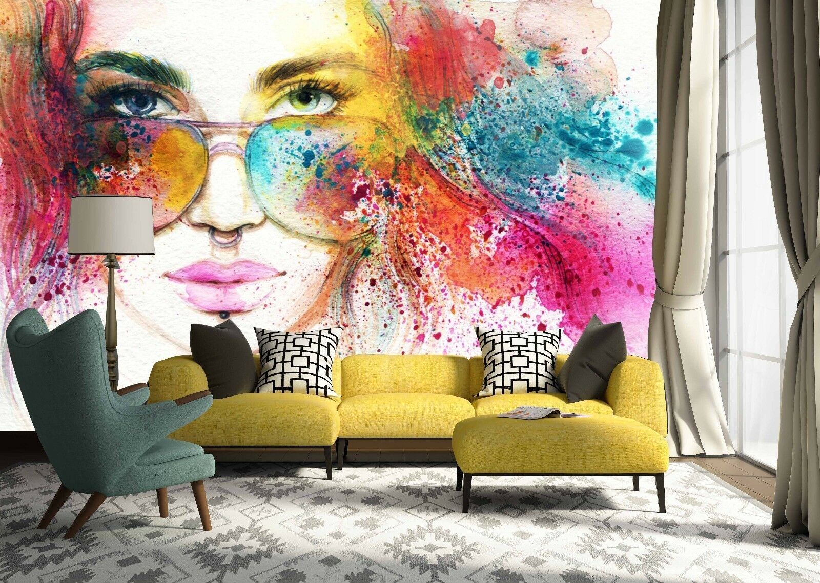 3D Sunglasses girl 5 walll Paper Print Decal Wall Deco Indoor wall Mural