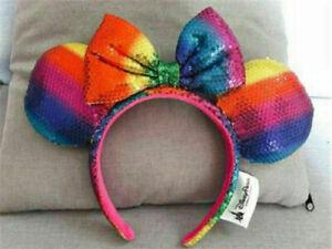 Minnie-Mouse-Headband-Ears-Sequin-RAINBOW-Costume-Bow-Hat