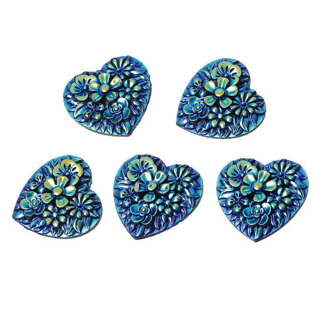 10 FLAT BACK BLUE/GREEN AB FLOWER HEARTS 20x19mm Cards~Weddings~Birthdays (38J)