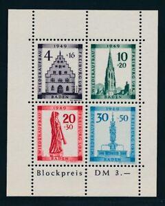 BADEN-1949-Block-1-A-PLF-I-034-Plattenfehler-034-Tadellos-Mi-300