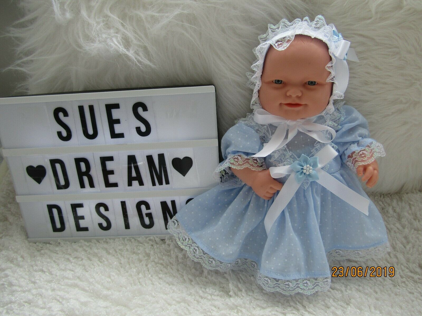 Handmade Dress,Hat & Pants Blue set-14inch Berenguer Lots to love/Chubby Doll