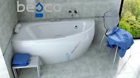 Besco Milena Asymmetric Corner Acrylic Bathtub 1500x700 With Panel&legs&handles