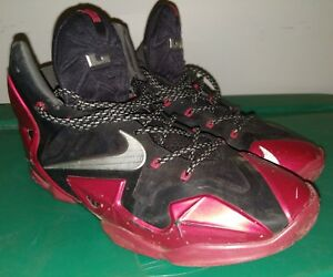 sale retailer 5596c c9198 Image is loading Nike-Lebron-11-XI-Black-University-Red-616175-