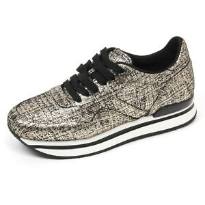 Details about C7870 sneaker donna HOGAN H222 scarpa NUOVO SPORTIVO XL oro/nero shoes woman
